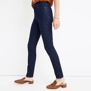 NWT Madewell High Rise Skinny Jean In Flocked Dots